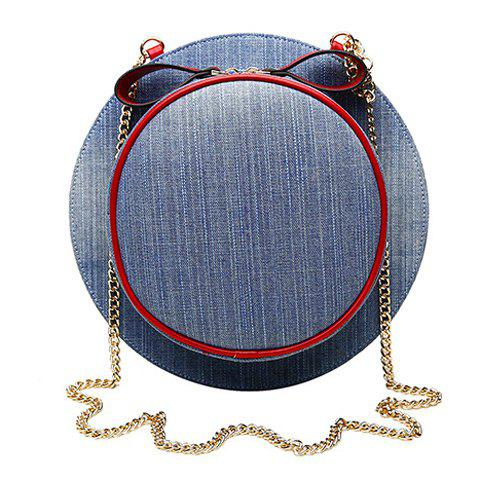 Stylish Cap Shape and Denim Design Crossbody Bag For Women - BLUE GRAY