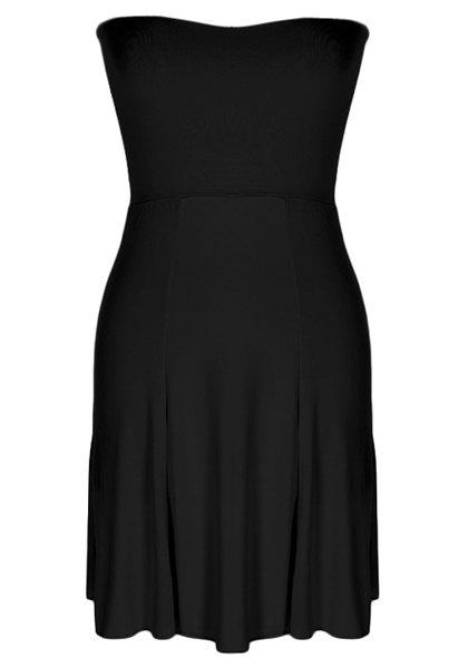 Stylish Women's Strapless Candy Color Dress - BLACK XL