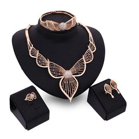 A Suit of Elegant Hollow Out Leaf Necklace Bracelet Ring and Earrings For Women - GOLDEN ONE-SIZE