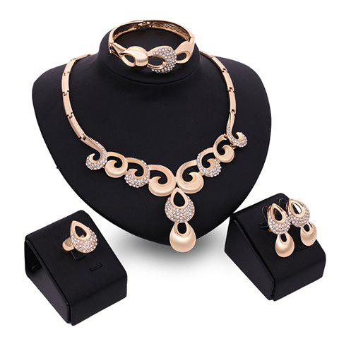A Suit of Charming Rhinestone Water Drop Necklace Bracelet Ring and Earrings For Women