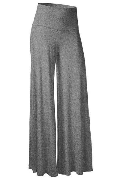Stylish Elastic Waist Solid Color Wide Leg Women's Pants, GRAY, M ...