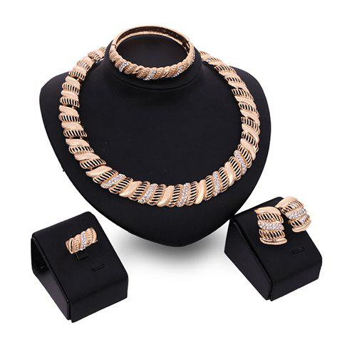 A Suit of Charming Rhinestone Hollow Out Necklace Bracelet Ring and Earrings For Women - GOLDEN ONE-SIZE