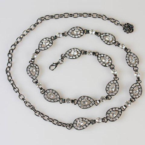 Chic Hollow Out Rhinestone Inlay Water Drop Women's Alloy Waist Chain - BLACK