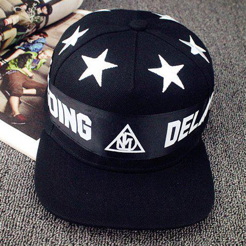 Hot Sale Star and Letter Design Baseball Cap For Women - BLACK