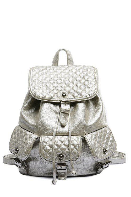 Stylish Checked and Buckle Design Satchel For Women - SILVER
