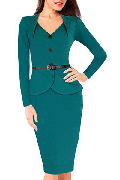 OL Style Women's Sweetheart Neck Solid Color Long Sleeve Dress - BLUE XL