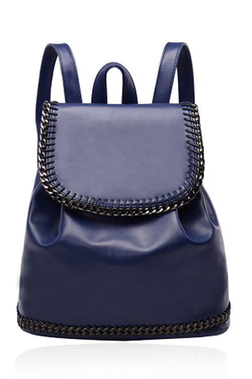 Concise Chains and Solid Color Design Satchel For Women - BLUE