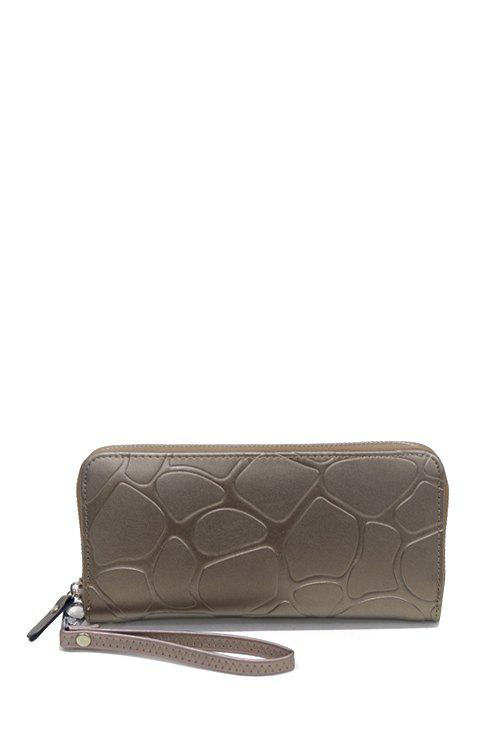 Stylish Stone Pattern and Solid Color Design Wallet For Women - CHAMPAGNE