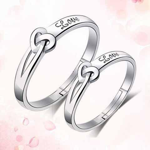 Pair of Chic Heart Shape Love Valentine's Day Gift Rings For Lovers - ONE-SIZE SILVER