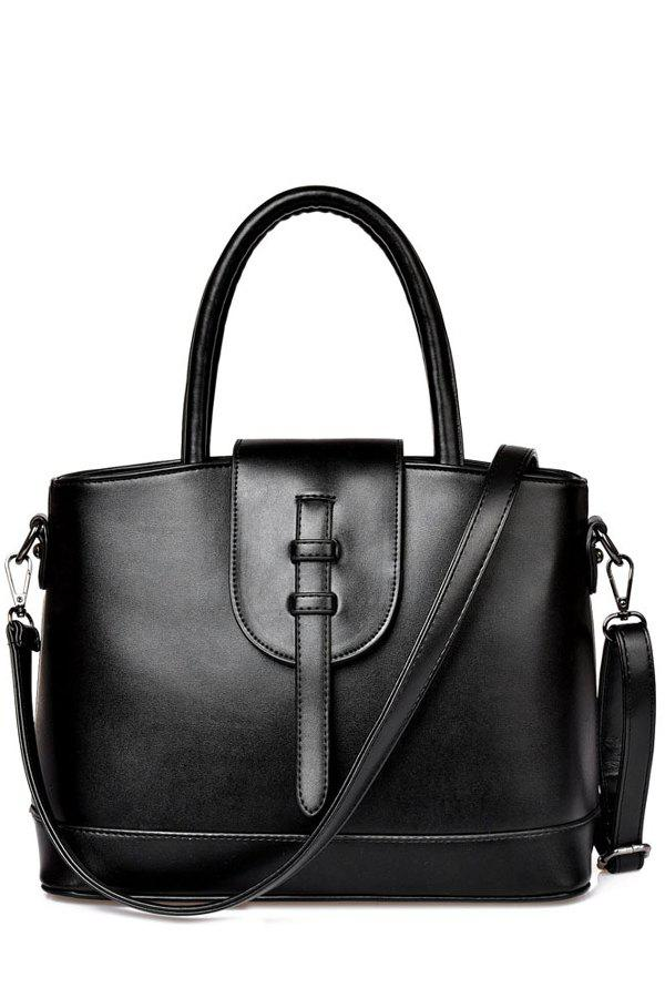 Concise Strap and Solid Color Design Tote Bag For Women - BLACK