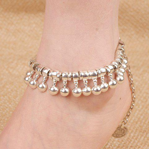 Punk Coin Ball Drop Tassel Beaded Anklets - SILVER