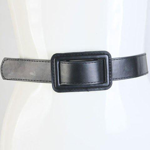 Chic Adjustable Buckle Womens Black PU Wide BeltAccessories<br><br><br>Color: BLACK