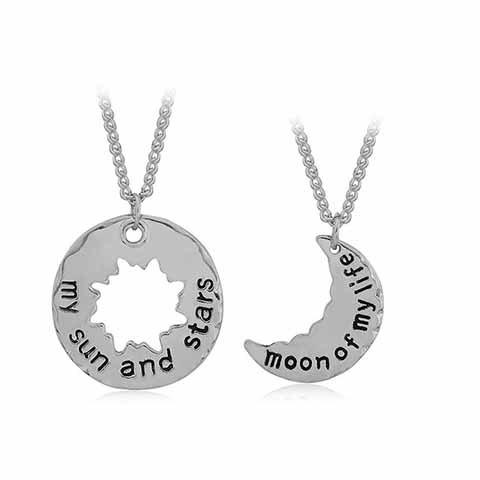 A Suit of Delicate Sun and Moon Valentine's Day Gift Pendant Necklace For Lovers - SILVER