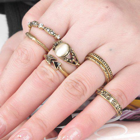 A Suit of Retro Faux Opal Rings For Women