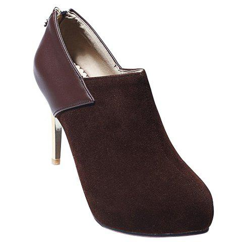 Simple Splicing and Zipper Design Pumps For Women - COFFEE 39