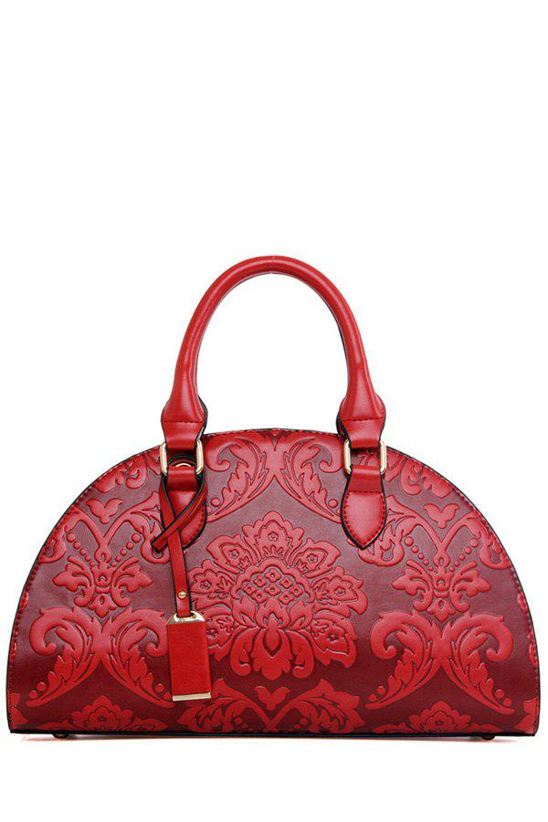 Ethnic Style Embossing and Pendant Design Tote Bag For Women - WINE RED
