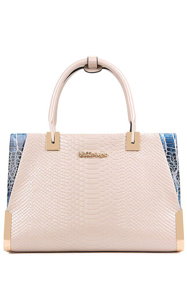Stylish Snake Print and Letter Design Tote Bag For Women - OFF WHITE