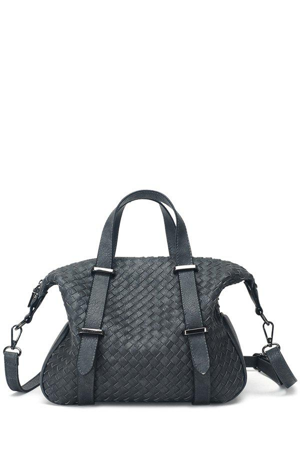 Casual Weaving and Strap Design Tote Bag For Women - DEEP GRAY