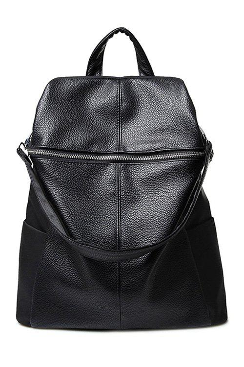Concise Black and Splicing Design Satchel For Women