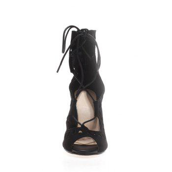 Sexy Hollow Out and Cross-Strap Design Peep Toe Shoes For Women - BLACK 37