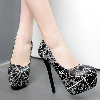 Fashionable Print and PU Leather Design Pumps For Women - 39 39