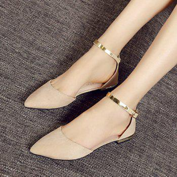 Sweet Pointed Toe and Two-Piece Design Flat Shoes For Women - APRICOT 36