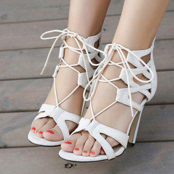 Stylish Lace-Up and Zip Design Sandals For Women - WHITE 37