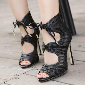 Fashion Lace-Up and Hollow Out Design Sandals For Women - BLACK 37