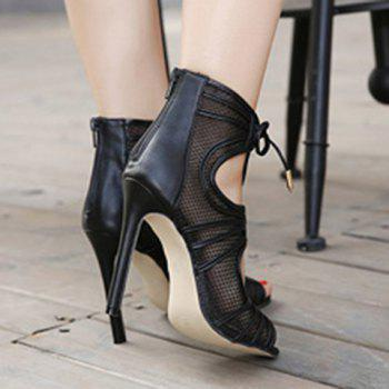 Fashion Lace-Up and Hollow Out Design Sandals For Women - BLACK 39