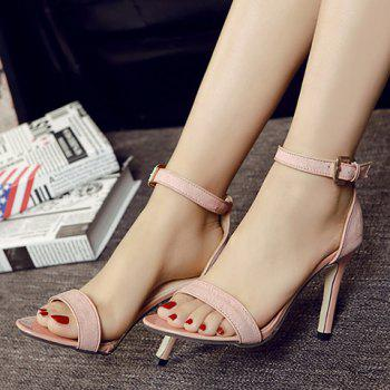 Fashion Two-Piece and Flock Design Sandals For Women - APRICOT 37
