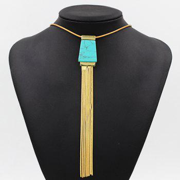 Link Chain Tassel Faux Turquoise Necklace