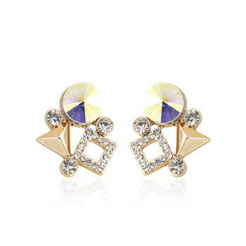 Pair of Exquisite Rhinestoned Geometric Earrings For Women