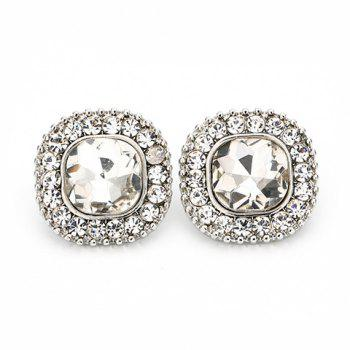 Pair of Square Shape Faux Crystal Rhinestone Earrings