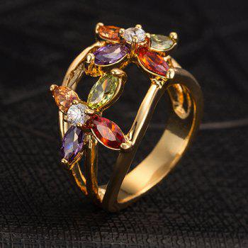 Floral Rhinestone Hollow Out Ring - GOLDEN ONE-SIZE