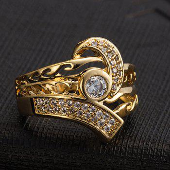 Chic Rhinestoned Hollow Out Ring For Men - GOLDEN GOLDEN
