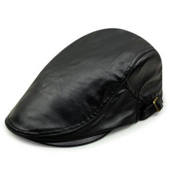 Stylish Lusterless Color Men's PU Cabbie Hat