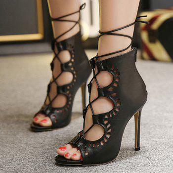 Fashion Lace-Up and Hollow Out Design Peep Toe Shoes For Women - BLACK 35
