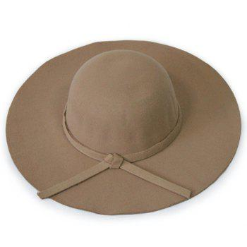 Chic Knotted Lace-Up Solid Color Women's Felt Floppy Hat