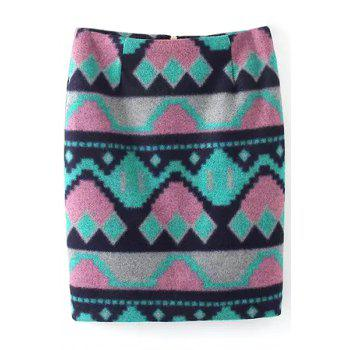 Stylish Geometric Print Wool Pencil Skirt For Women