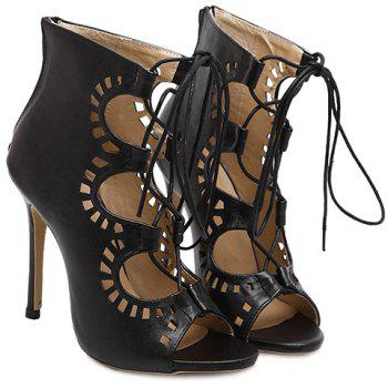 Fashion Lace-Up and Hollow Out Design Peep Toe Shoes For Women - BLACK BLACK