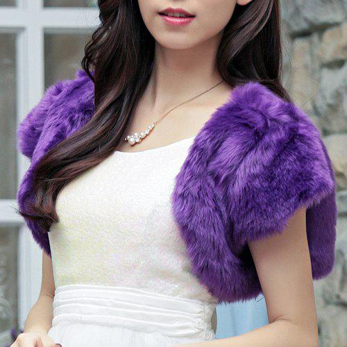Sweet Short Sleeve Solid Color Women's Faux Fur Cape - PURPLE ONE SIZE(FIT SIZE XS TO M)