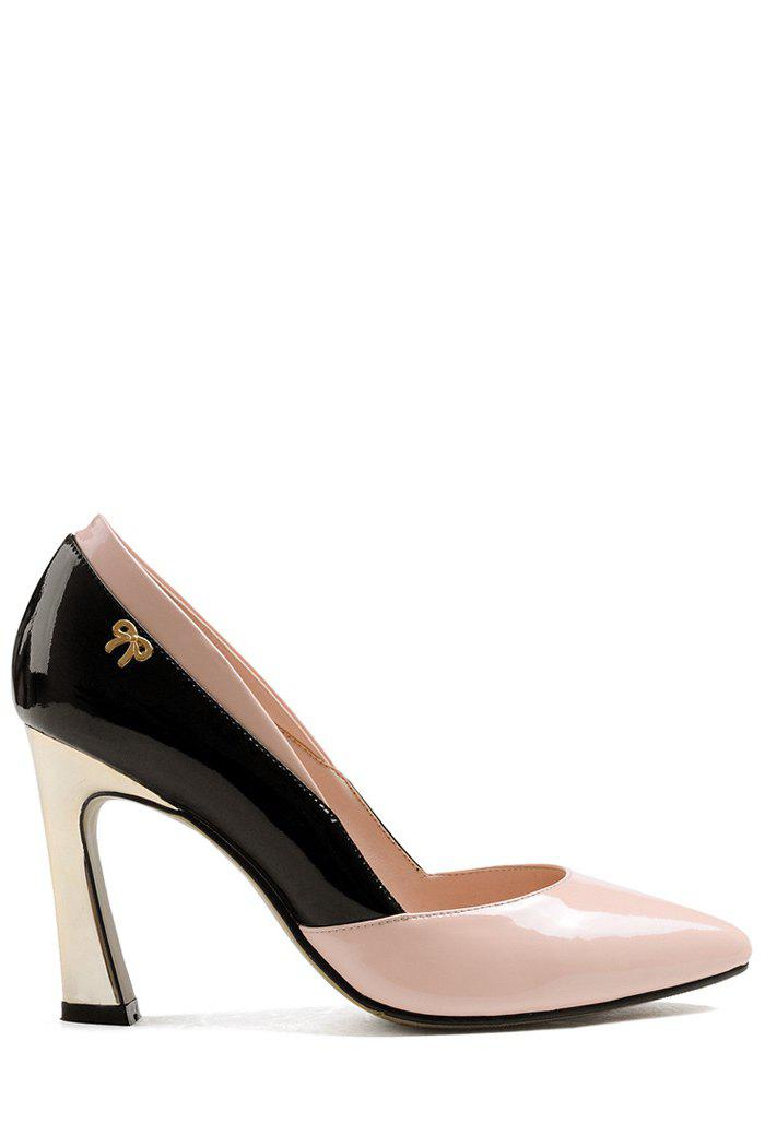 Trendy Color Block and Chunky Heel Design Pumps For Women - PINK 39