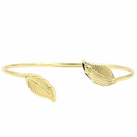 Plated Leaf Shape Cuff Bracelet - GOLDEN