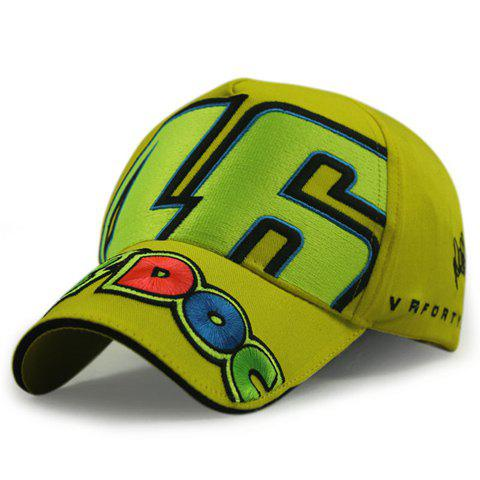 Stylish Big Numbers and Letters Brim Embroidery Men's Car Racing Baseball Cap - YELLOW