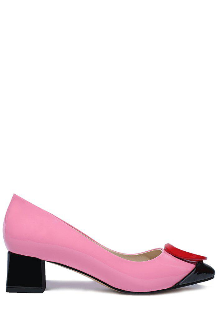 Stylish Color Block and Round Design Pumps For Women - PINK 38
