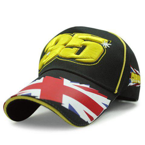 Stylish Yellow Numbers Embroidery Union Flag Brim Men's Baseball Cap - BLACK