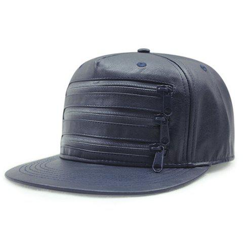 Stylish Three Stripy Zippers Embellished Men's PU Baseball Cap - DEEP BLUE