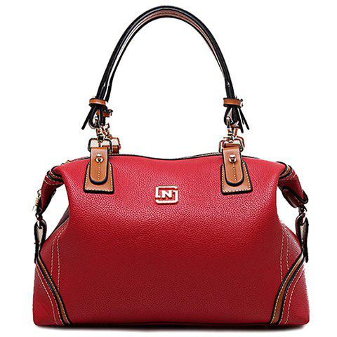Simple PU Leather and Zipper Design Tote Bag For Women - WINE RED