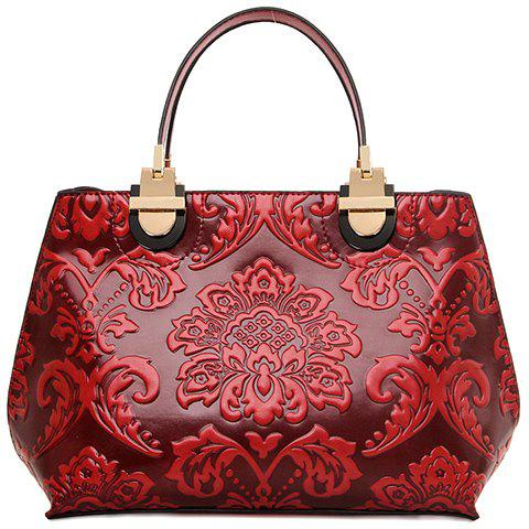 Vintage Style Embossing and PU Leather Design Tote Bag For Women - RED
