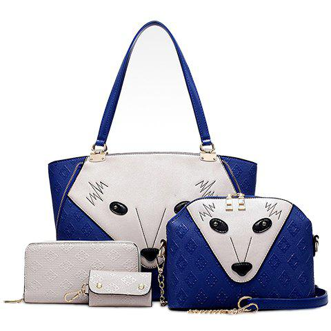Fashion PU Leather and Fox Face Design Shoulder Bag For Women - BLUE